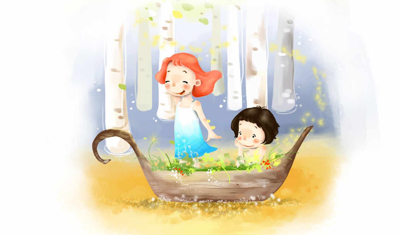 нарисованные, дети, девочки, радость, вода, деревья, цветы