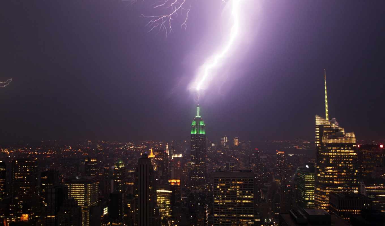 фотографии, фотобанк, красивые, building, lightning, state, империя, джин, ураган, июня, мост, буря, башня, капитанский,