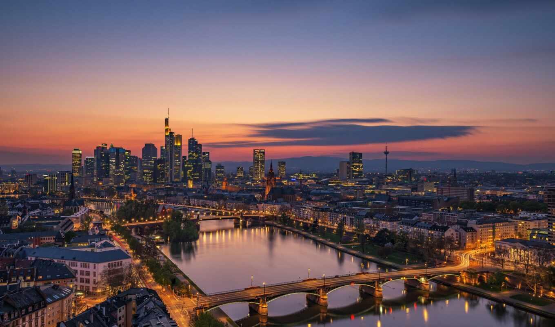 frankfurt, tourist, skyline, аттракцион, art, германия, canvas, print