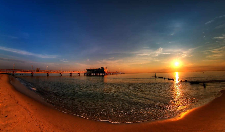 море, вода, закат, солнце, песок, океан, sunrise, pier, view, берег, images, desktop,