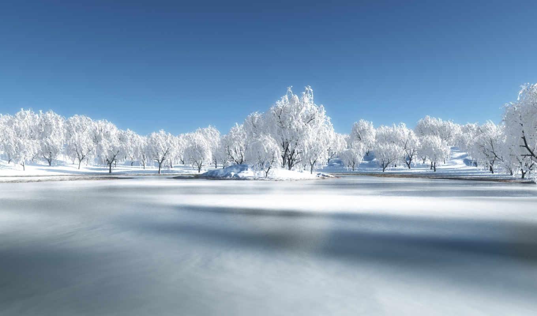 зима, снег, лес, река, деревья, заснеженные, картинка,