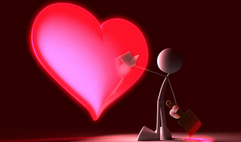 графика, сердце, краска, красный