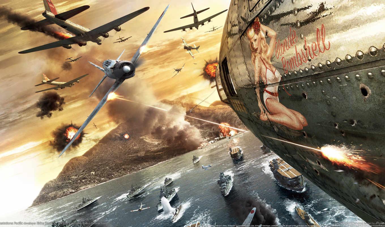 огонь, pearl, harbor, битва, war, rendering, модель,