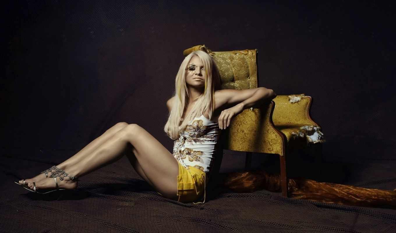 девушка, сидит, кресло, срисовки, больнице, blonde,