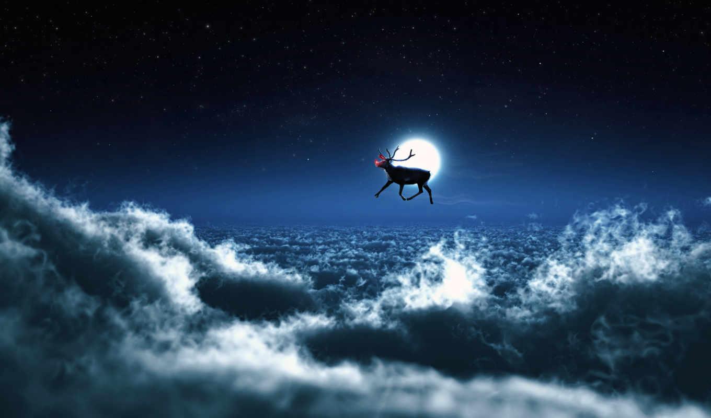 небо, clouds, ночь, неба, free, луна,