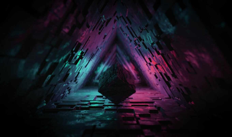 кубик, imagen, fundo, dark, рисунок, туннель, подсветка, ideia