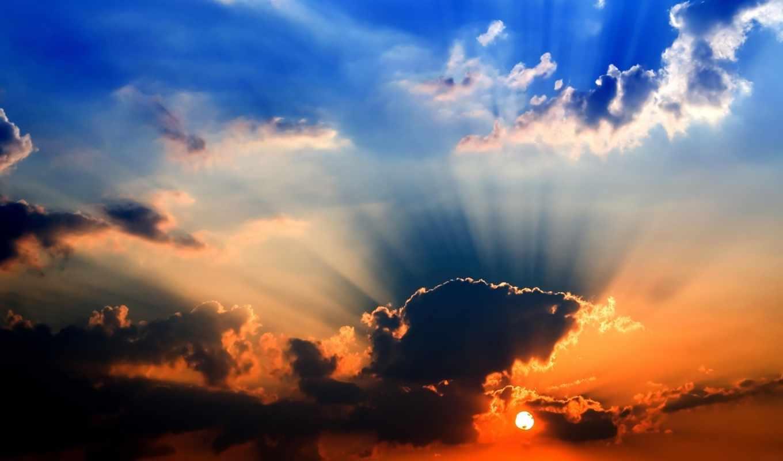 закат, природа, яркий, со, небо,