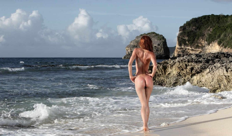 , море, голая, без лица, девушка