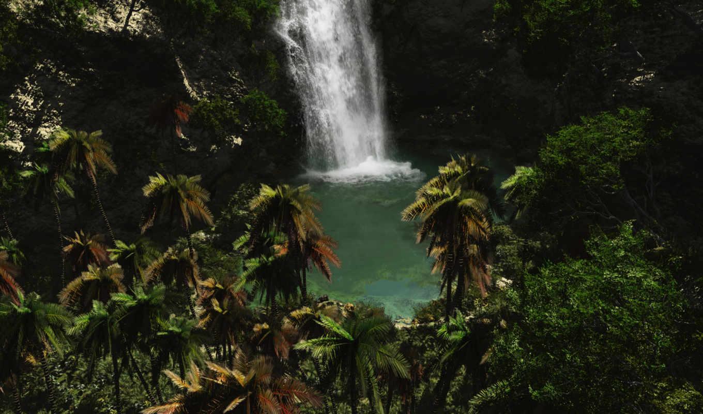 природа, водопад, best, водопады, full, тропические, цветы, пальмы,