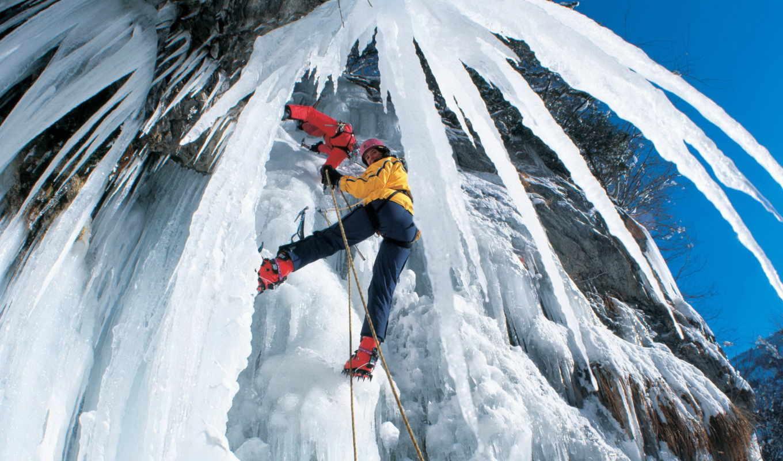 картинка, скалолаз, climbing, красиво, вид, rock, ice, background,