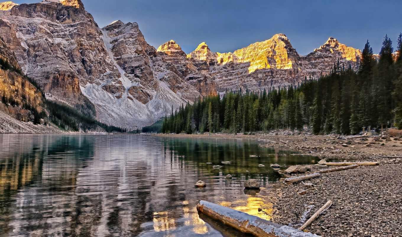 озеро, ten, peaks, national, канада, долина, banff, park, морейн,
