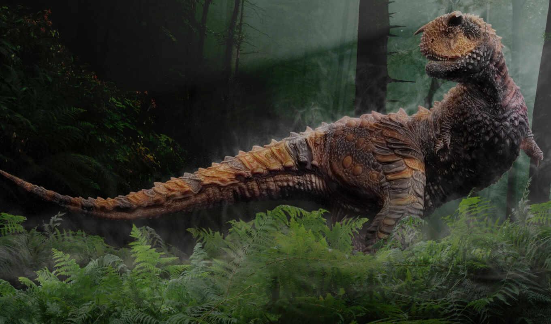 динозавр, dinosaurs, era, трава, мезозойская, trees,