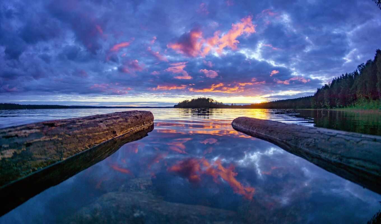 озеро, небо, финляндия, id, закат, red, взгляд, preview