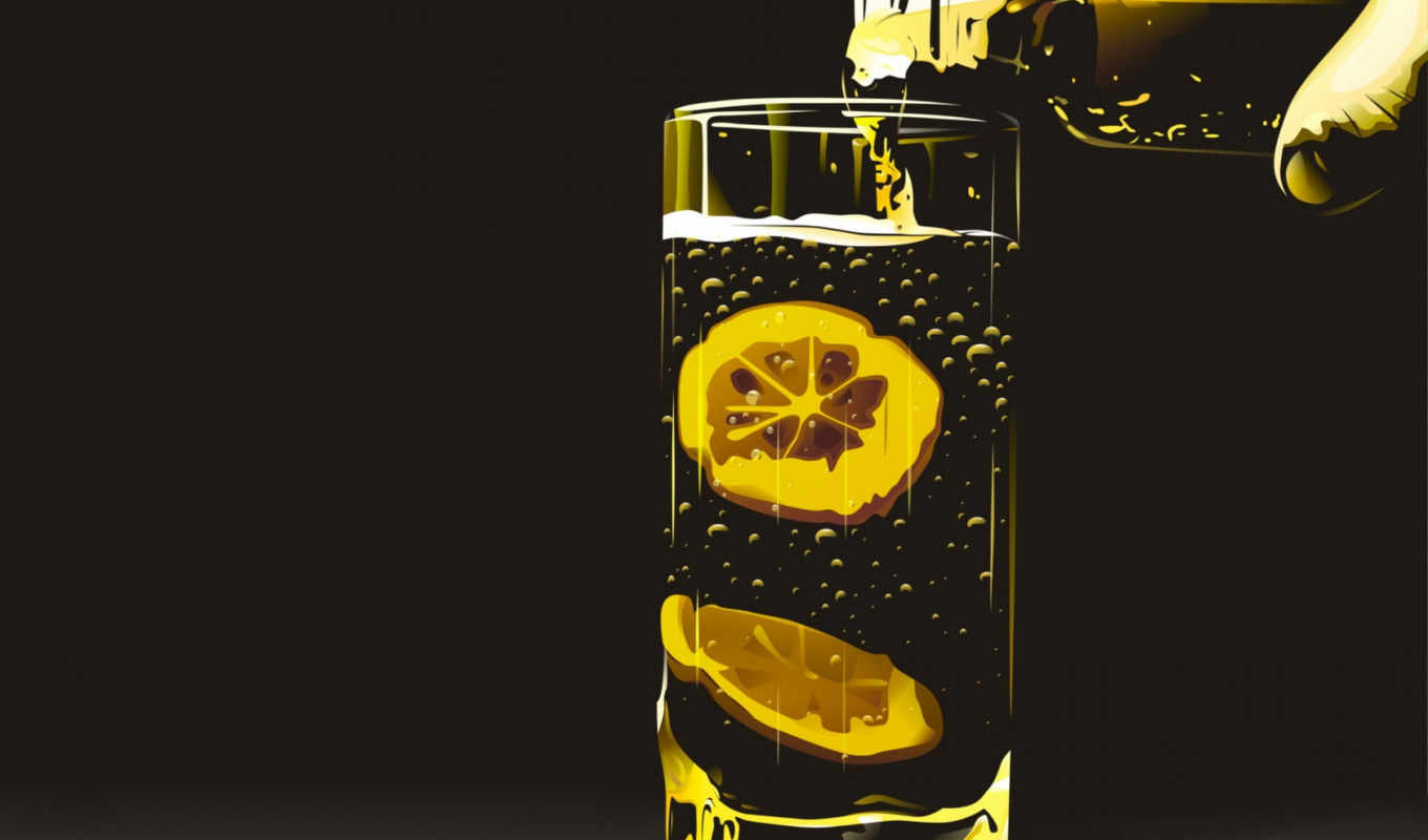 tea, glass, lemon, lemonade, graphics,