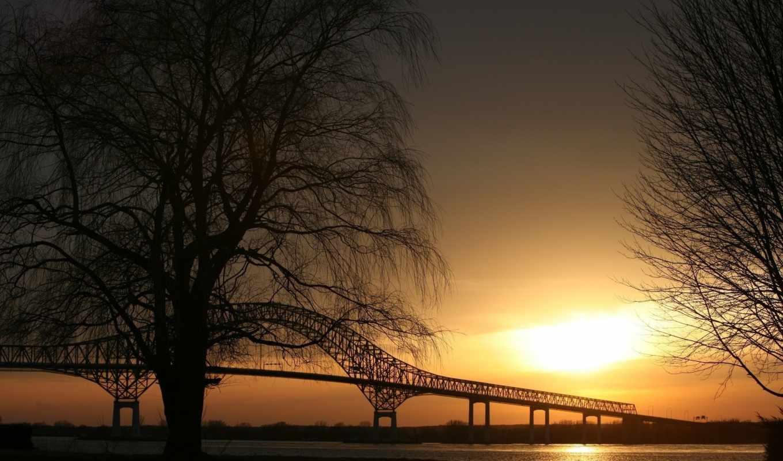 sunset, bridge, мосты, scene, города, вид, background, места, деревья, nature, сумерки, достопримечательность, очертания,