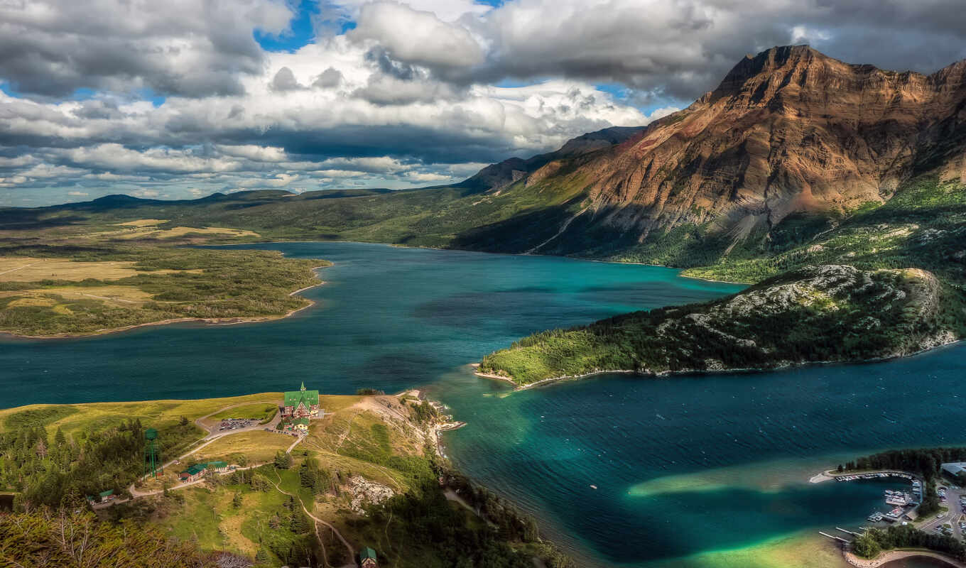 waterton, park, national, lakes, озеро, glacier, альберта,