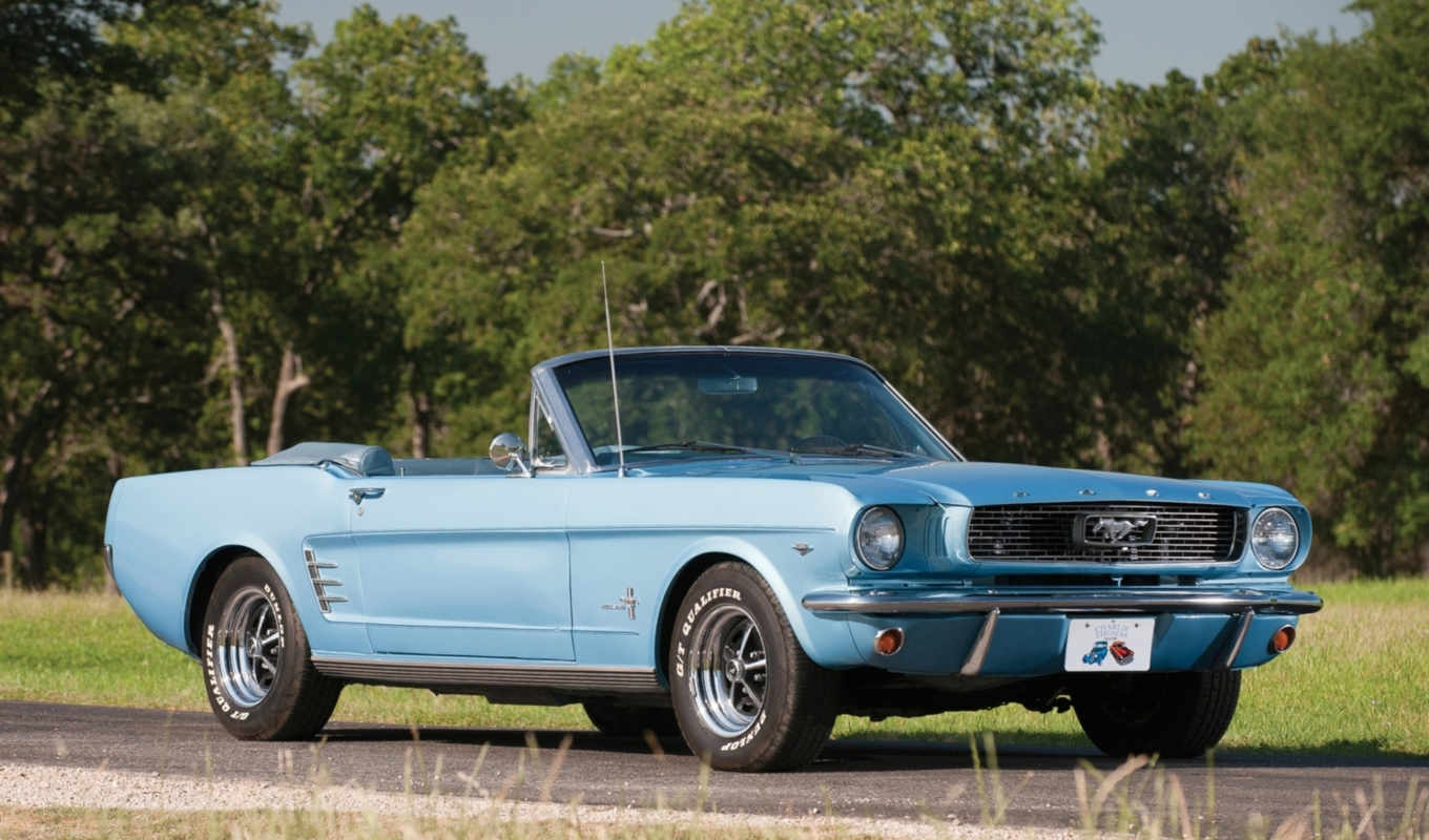 cabriolet, ford, muscle, кар, фронтовой, blue, деревя, mustang, дорога,