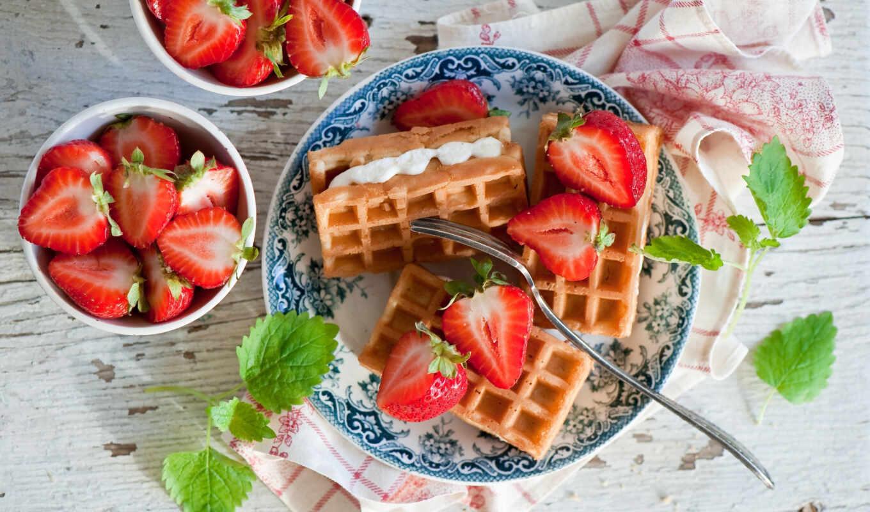 завтрак, вафельный, ягода, клубника, meal