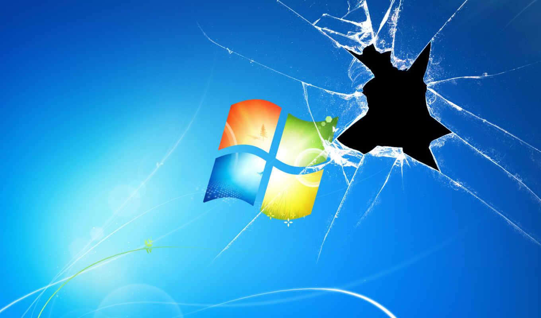 windows, 7, wallpaper, стекло, разбитый