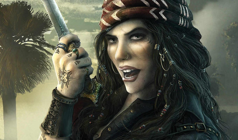 pirate, татуировка, пирсинг, кинжад, шрам, girl, фэнтези, download, просмотров, картинка, вас, desktop,