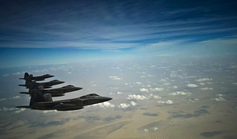 истребители, stealth, raptor, небо, самолеты, fighters, облака, земля, air, aircraft, force, tags, смотрите,