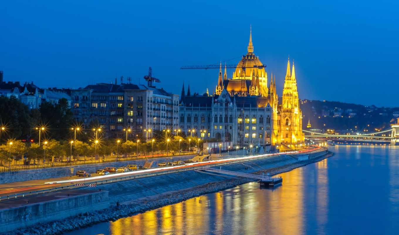 , ночь, небо, отражение, город, синий, архитектура, городской пейзаж, городской район,