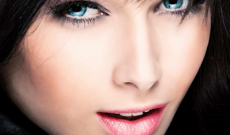 глаза, голубые, красивые, лицо, зубы,