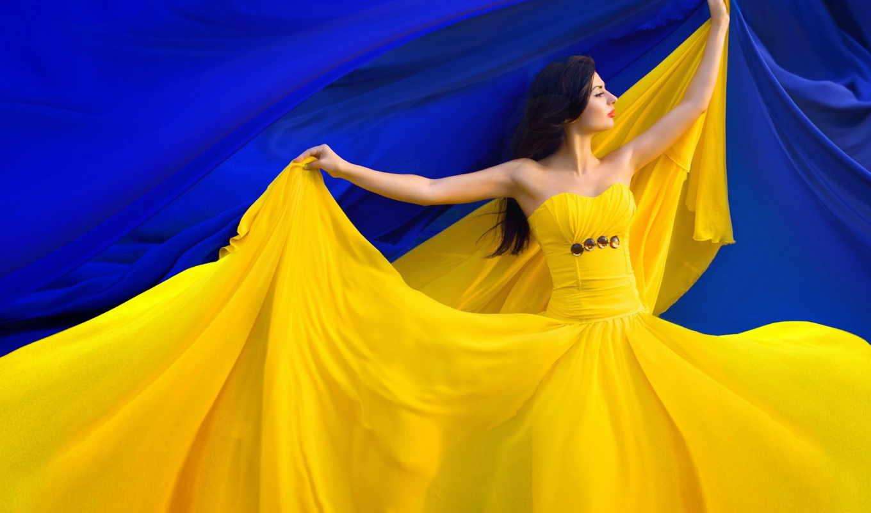 ukraine, флаг, девушка, красиво, телефон,