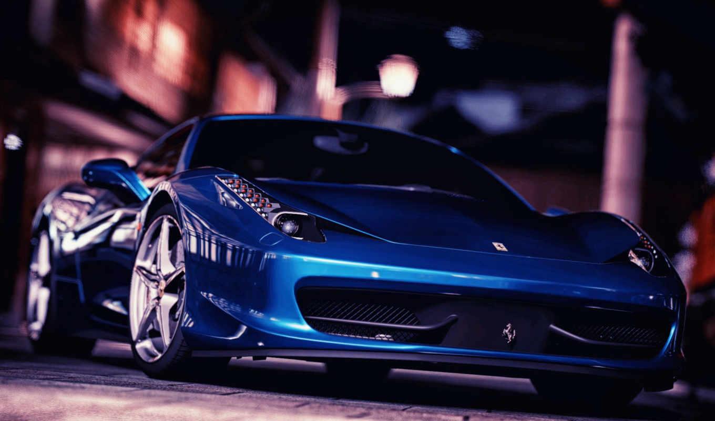 шпалери, nissan, komp, взгляд, blue, italia, темно, спереди, автомобили, ferrari,