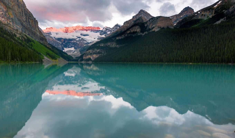 озеро, louise, гора, regal-a, libre, foto, во