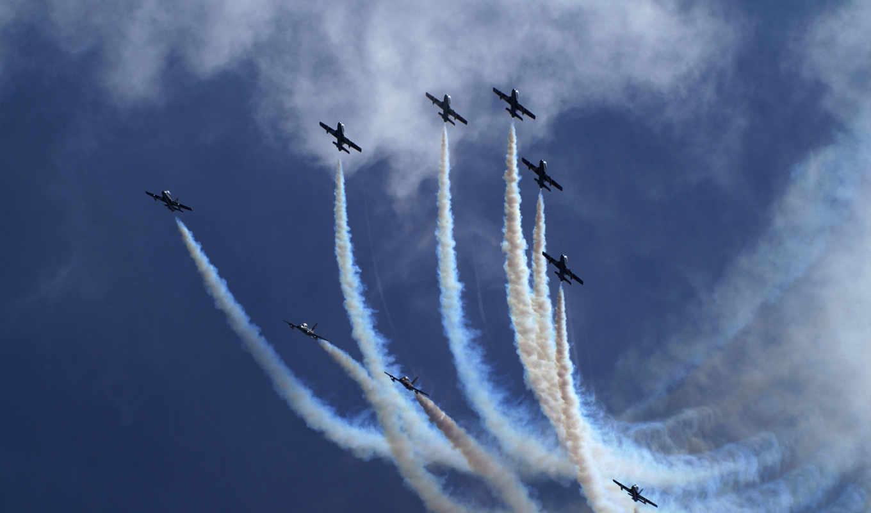 самолеты, небо, шлейфы, картинка, военные,