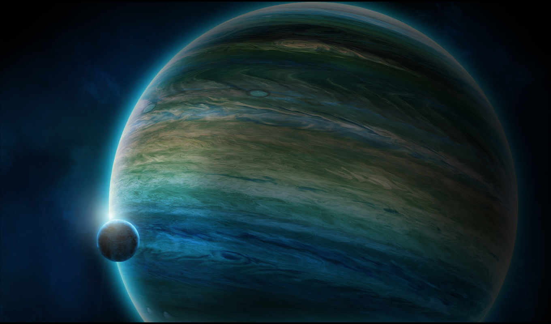 спутник, планета, атмосфера, газовый, гигант, космос,