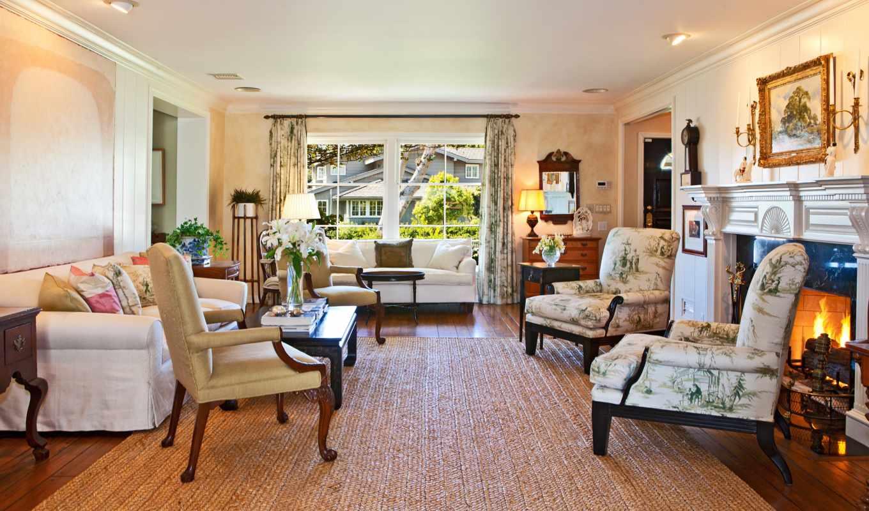 интерьер, house, комната, кресло, ковёр, камин,