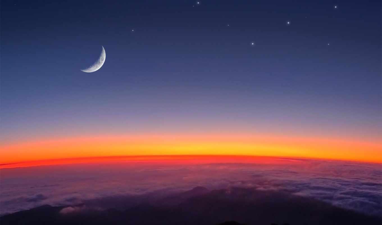 звезды, луна, облака,