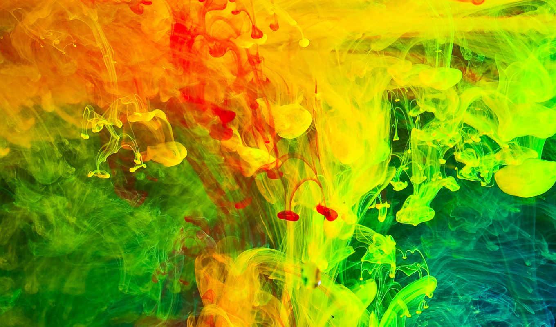 дым, краска, color, девушка, water,