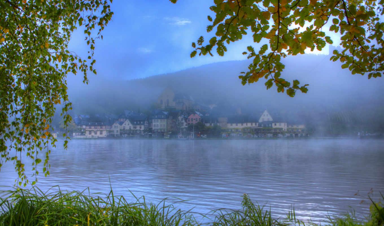 hdr, германия, картинка, reki, природа, листья, трава, туман,