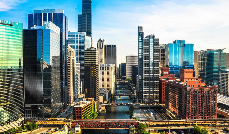 chicago, башня, philadelphia, городов, река, часы,