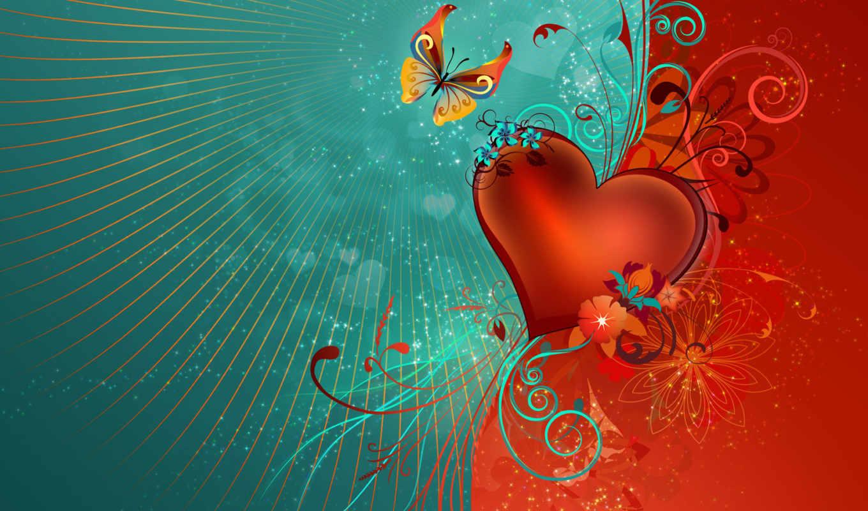 сердце, графика, бабочка, цветы, голубой, красный