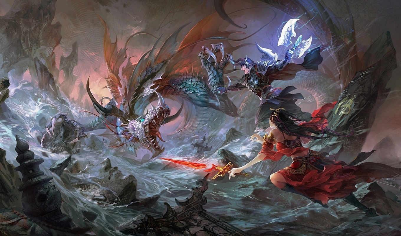 битва, дракон, меч, скалы, парень, арт, девушка, hgjart, река, fantasy, guangjian, фэнтези,