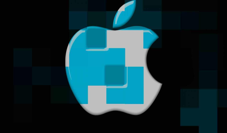 apple, cubes, logo, desktop, mac, blue,