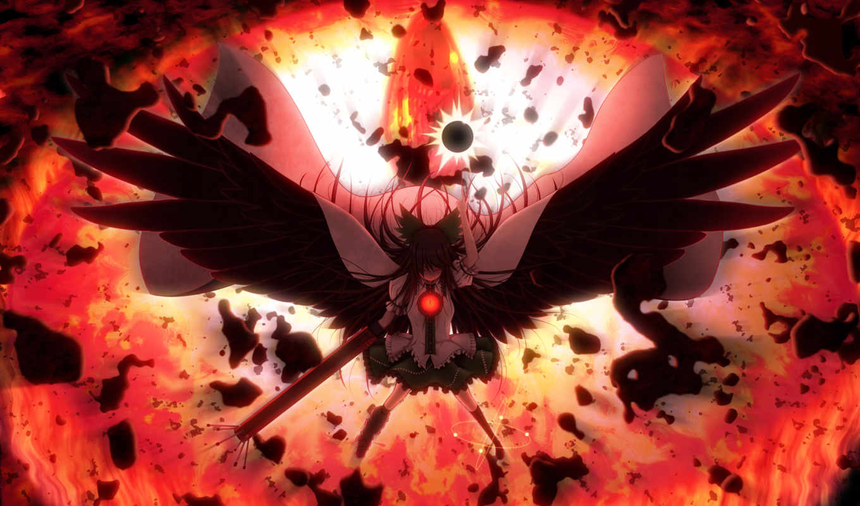 сила, огонь, разрушение, мгла, картинка, touhou, hair, anime, wings, картинку,