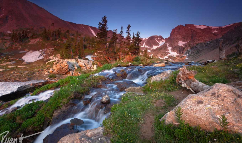природа, горы, ручей, небо, камни, картинка,
