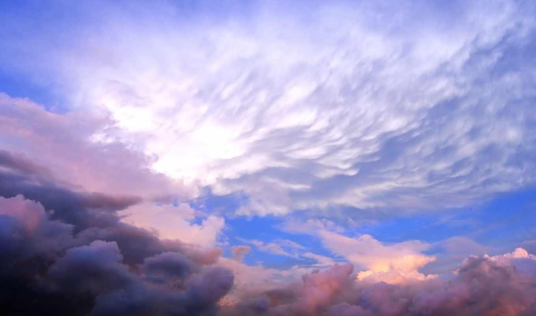 облака, небо, закат, картинка,