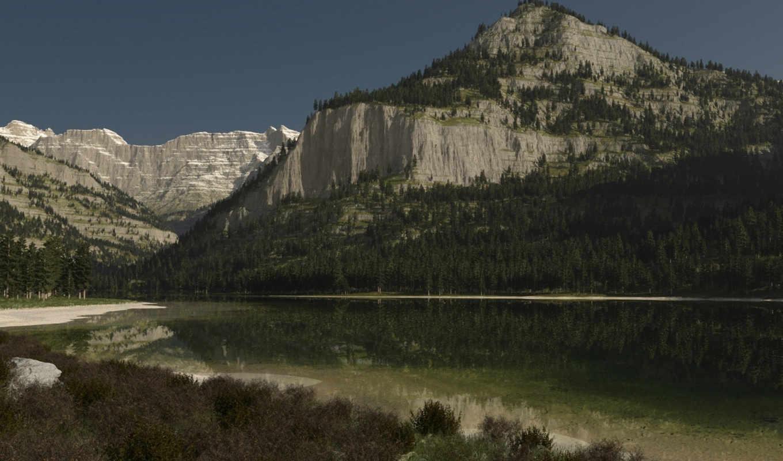 озеро, лес,
