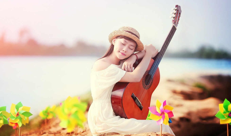гитара, девушка, музыка, широкоформатные,