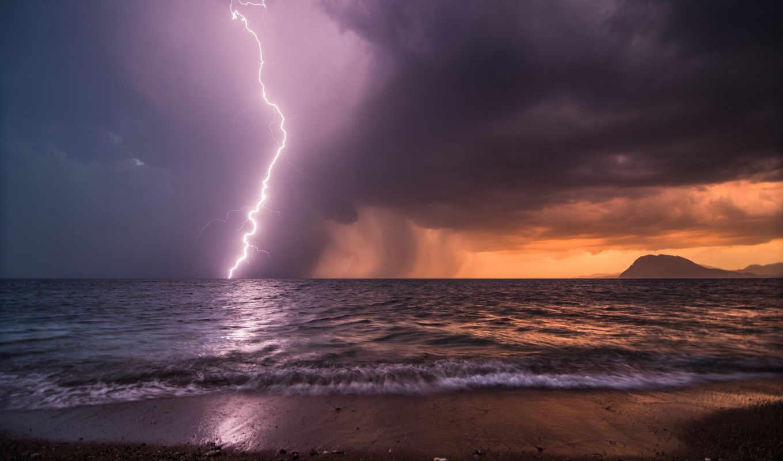 more, вечер, молния, небо, берег, shtorm, гроза,