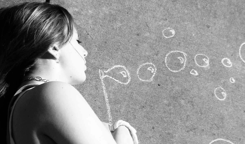 девушка, пузыри, мыльные, bubbles, мел, loading, cəmi, monochrome,