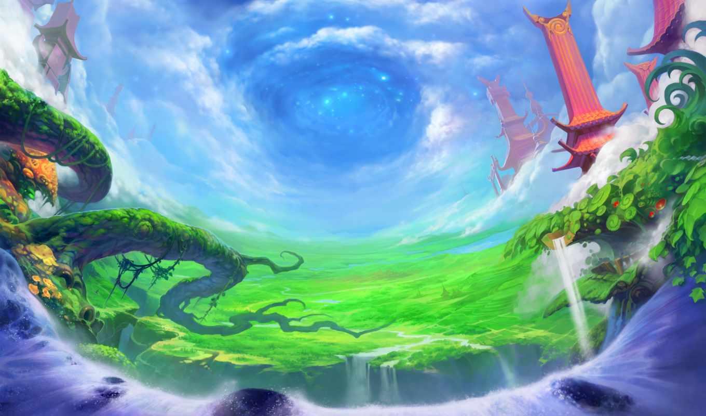 сага, ether, online, art, дерево, anime, priroda,