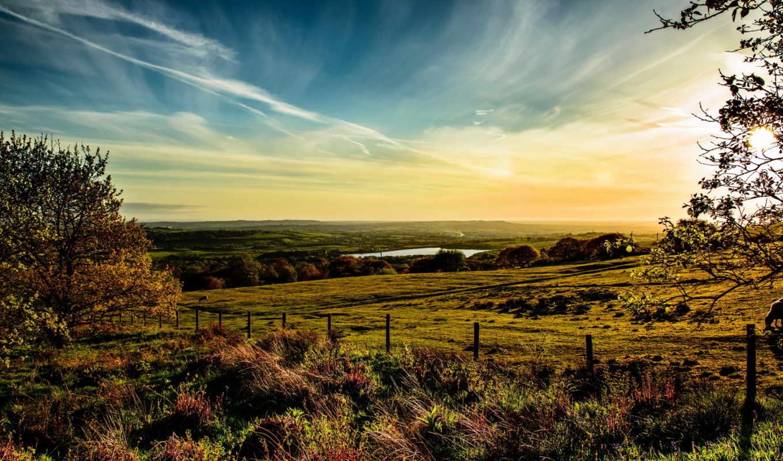 небо, англия, oblaka, трава, horwich, луга,