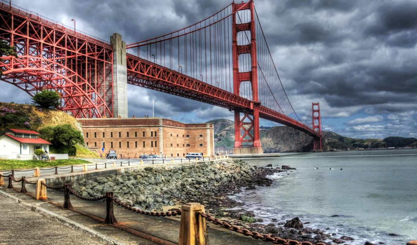 мост, san, york, new, город, francisco, gate, manhattan, золотистый,